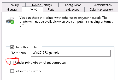 print job stuck in shared windows printer queue with status sent to
