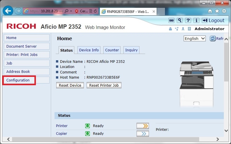 Heap and Stack Settings for PIV or CAC enabled Ricoh MFDs